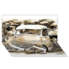 Vintage Chevrolet Pick up Truck Twin Heart Bottom 3D Greeting Card (8x4)