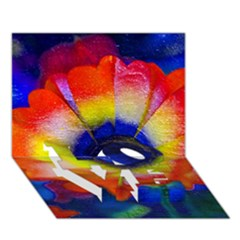 Tie Dye Flower LOVE Bottom 3D Greeting Card (7x5)