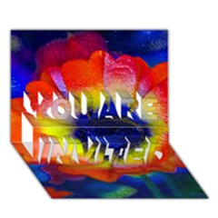 Tie Dye Flower YOU ARE INVITED 3D Greeting Card (7x5)