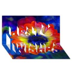 Tie Dye Flower Best Wish 3D Greeting Card (8x4)