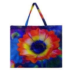 Tie Dye Flower Zipper Large Tote Bag
