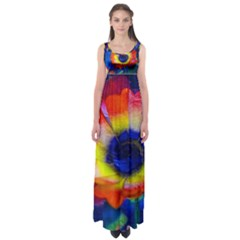 Tie Dye Flower Empire Waist Maxi Dress