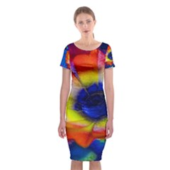 Tie Dye Flower Classic Short Sleeve Midi Dress