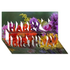 Colorful Flowers Happy Birthday 3d Greeting Card (8x4)