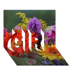 Colorful Flowers GIRL 3D Greeting Card (7x5)