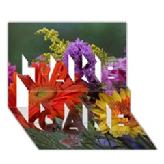 Colorful Flowers TAKE CARE 3D Greeting Card (7x5)