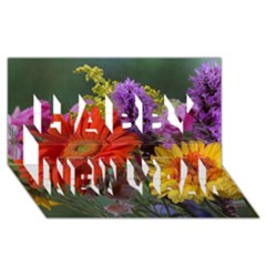 Colorful Flowers Happy New Year 3D Greeting Card (8x4)