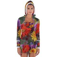 Colorful Flowers Women s Long Sleeve Hooded T-shirt