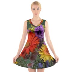 Colorful Flowers V-Neck Sleeveless Skater Dress