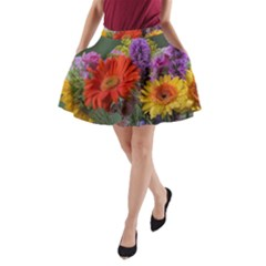 Colorful Flowers A Line Pocket Skirt