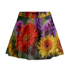 Colorful Flowers Mini Flare Skirt