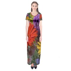 Colorful Flowers Short Sleeve Maxi Dress