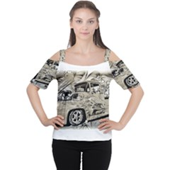 Old Ford Pick Up Truck  Women s Cutout Shoulder Tee