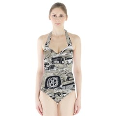 Old Ford Pick Up Truck  Women s Halter One Piece Swimsuit