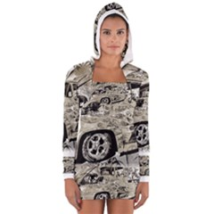 Old Ford Pick Up Truck  Women s Long Sleeve Hooded T-shirt