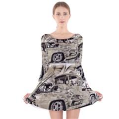 Old Ford Pick Up Truck  Long Sleeve Velvet Skater Dress