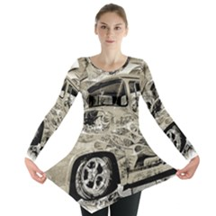 Old Ford Pick Up Truck  Long Sleeve Tunic