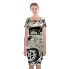 Old Ford Pick Up Truck  Classic Short Sleeve Midi Dress