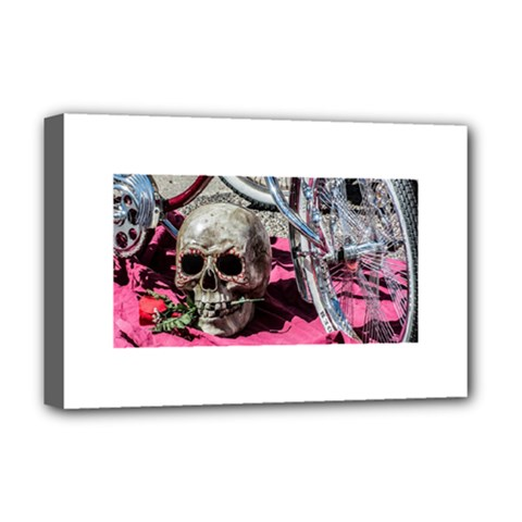 Skull and Bike Deluxe Canvas 18  x 12
