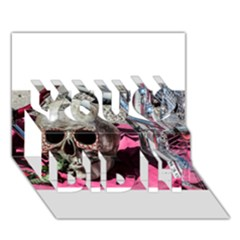 Skull and Bike You Did It 3D Greeting Card (7x5)