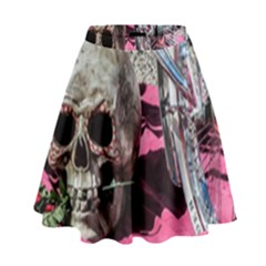 Skull and Bike High Waist Skirt