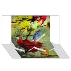 Rusty Globe Mallow Flower Twin Heart Bottom 3D Greeting Card (8x4)