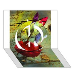 Rusty Globe Mallow Flower Peace Sign 3D Greeting Card (7x5)