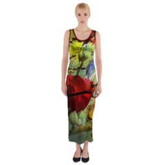 Rusty Globe Mallow Flower Fitted Maxi Dress