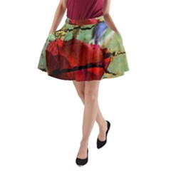 Rusty Globe Mallow Flower A-Line Pocket Skirt