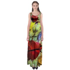 Rusty Globe Mallow Flower Empire Waist Maxi Dress