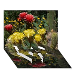 Cactus Flowers with Reflection Pool LOVE Bottom 3D Greeting Card (7x5)