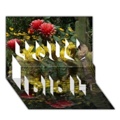 Cactus Flowers with Reflection Pool You Did It 3D Greeting Card (7x5)