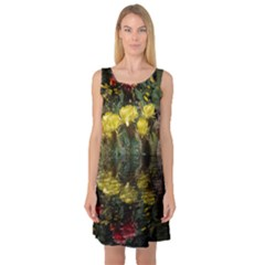 Cactus Flowers with Reflection Pool Sleeveless Satin Nightdress