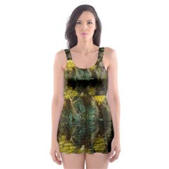 Cactus Flowers With Reflection Pool Skater Dress Swimsuit