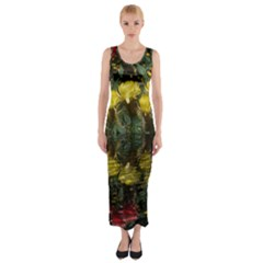 Cactus Flowers with Reflection Pool Fitted Maxi Dress