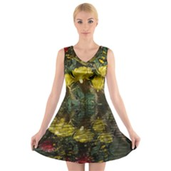 Cactus Flowers with Reflection Pool V-Neck Sleeveless Skater Dress