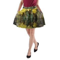 Cactus Flowers With Reflection Pool A Line Pocket Skirt