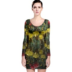 Cactus Flowers With Reflection Pool Long Sleeve Velvet Bodycon Dress