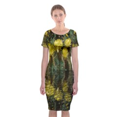 Cactus Flowers with Reflection Pool Classic Short Sleeve Midi Dress
