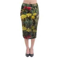 Cactus Flowers with Reflection Pool Midi Pencil Skirt