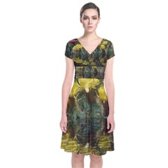 Cactus Flowers with Reflection Pool Short Sleeve Front Wrap Dress