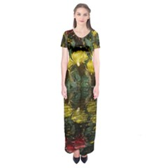 Cactus Flowers with Reflection Pool Short Sleeve Maxi Dress