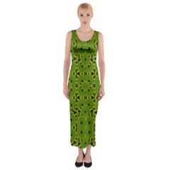 Geometric African Print Fitted Maxi Dress