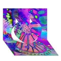 Psychedelic Butterfly Heart 3D Greeting Card (7x5)