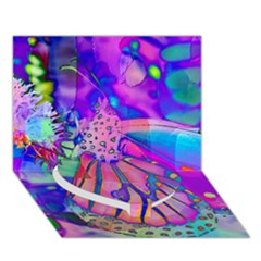 Psychedelic Butterfly Heart Bottom 3D Greeting Card (7x5)