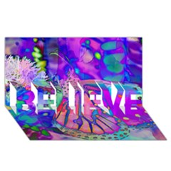 Psychedelic Butterfly BELIEVE 3D Greeting Card (8x4)