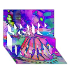 Psychedelic Butterfly You Rock 3D Greeting Card (7x5)