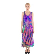 Psychedelic Butterfly Sleeveless Maxi Dress