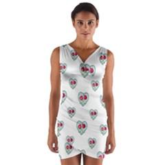 Love Ornate Motif Print Wrap Front Bodycon Dress