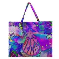 Psychedelic Butterfly Zipper Large Tote Bag